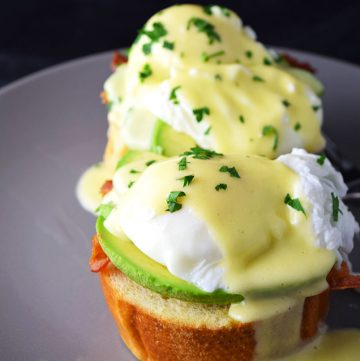 "<span class=""entry-title-primary"">Eggs Benedict with Avocado Recipe</span> <span class=""entry-subtitle"">A delicious and simple eggs benedict recipe made with avocado, bacon and toasted French bread. No double boiler required.</span>"