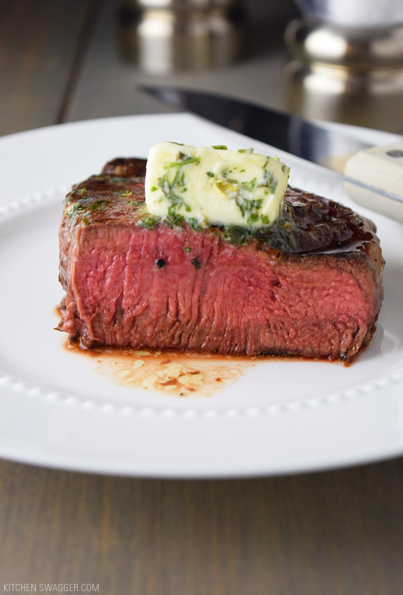 Pan-Seared Filet Mignon with Garlic & Herb Butter Recipe