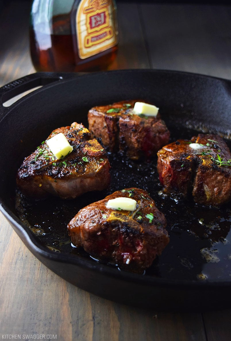 Cast Iron Lamb Loin Chops with Cognac Butter Sauce Recipe