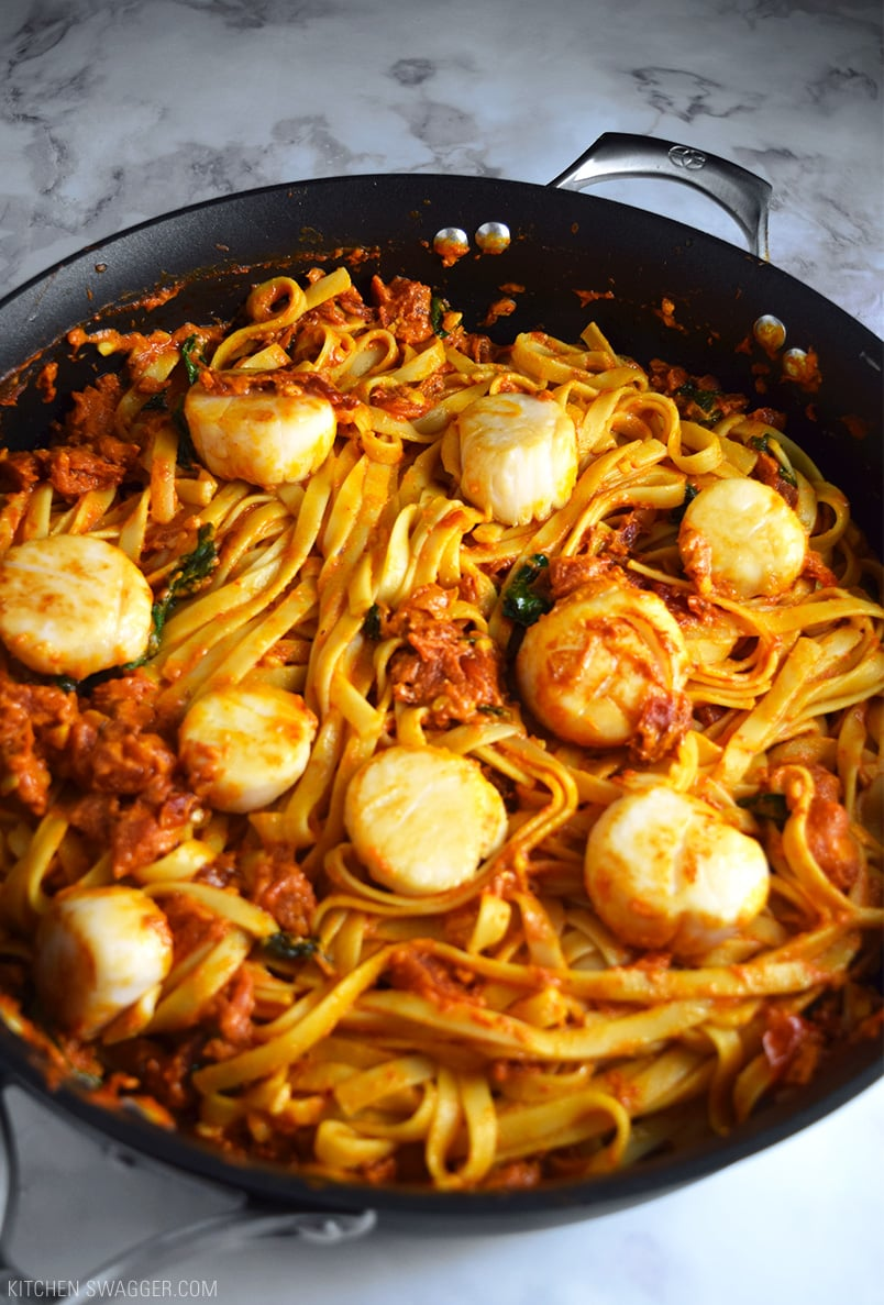 Sundried Tomato Fettuccine with Vodka and Scallops Recipe