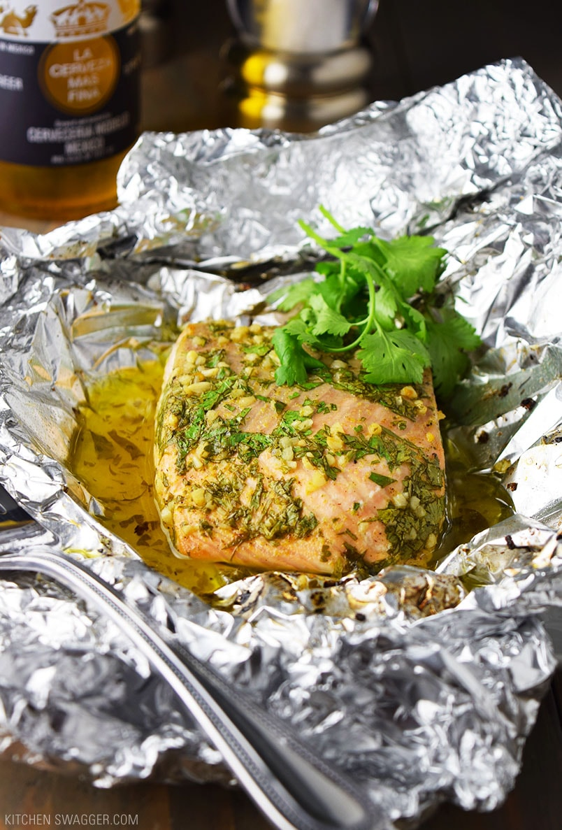 Baked Salmon with Cilantro and Lime in Foil Recipe