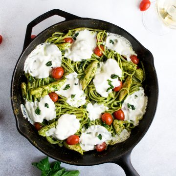 "<span class=""entry-title-primary"">Pesto Pasta with Chicken Recipe</span> <span class=""entry-subtitle"">My go-to pasta dish made with fresh homemade basil pesto</span>"