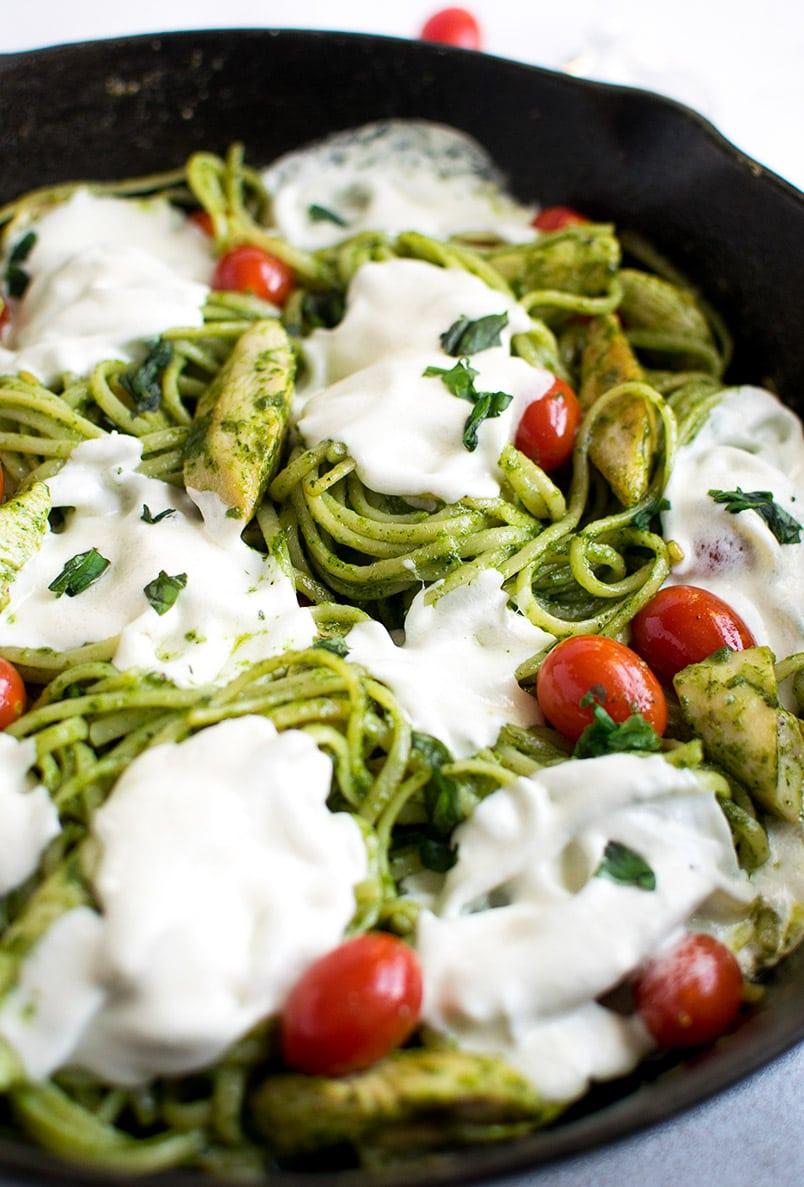 how to make chicken basil pesto pasta