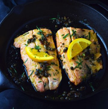 "<span class=""entry-title-primary"">Trout with Capers, Orange, and Brown Butter Recipe</span> <span class=""entry-subtitle"">Trout prepared in a cast iron skillet with butter, orange, tarragon, and capers.</span>"