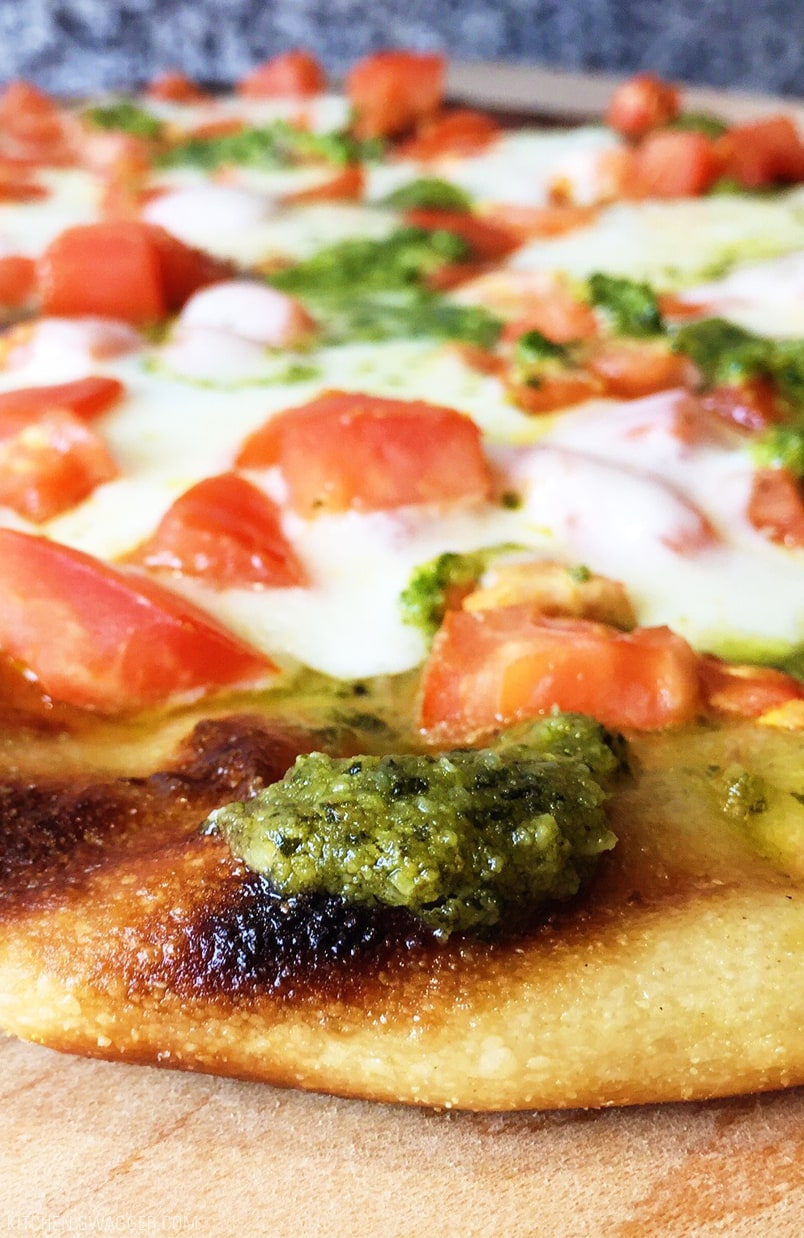 Grilled Flatbread Pesto Margherita Pizza