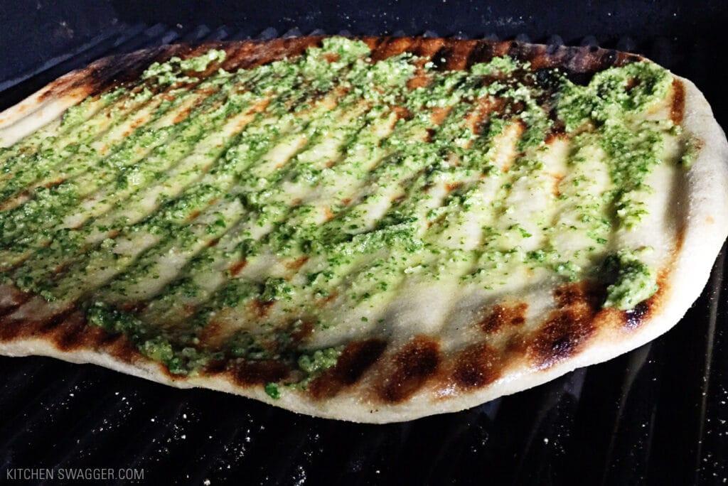 Grilled Flatbread Pesto Margherita Pizza