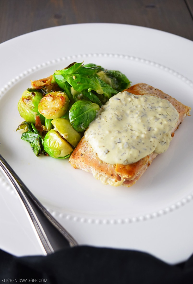 Seared Salmon with Creamy Pesto Sauce Recipe