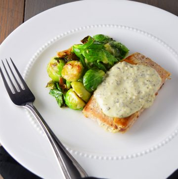 "<span class=""entry-title-primary"">Seared Salmon with Creamy Pesto Sauce Recipe</span> <span class=""entry-subtitle"">Pan-seared salmon topped with a creamy pesto sauce made with cream cheese, milk, and pesto.</span>"