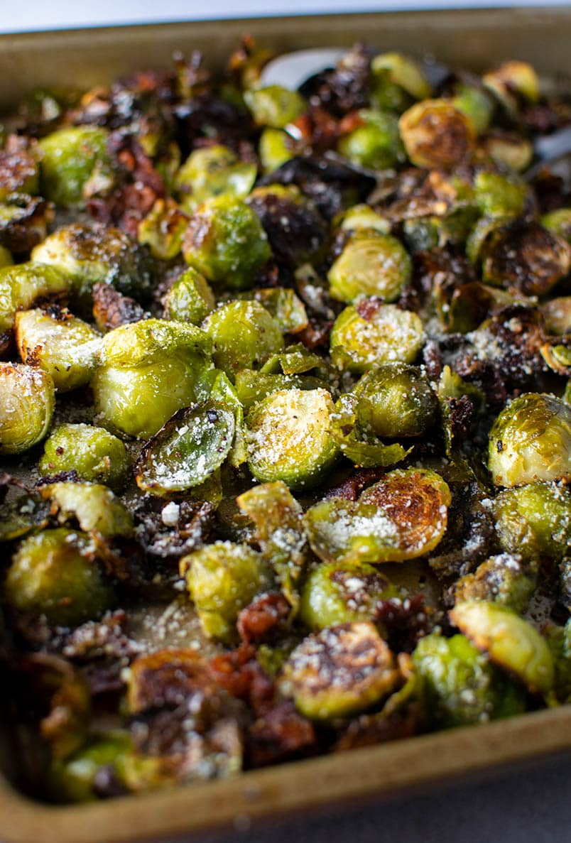 Roasted Brussel Sprouts with Bacon & Parmesan Cheese