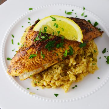 Blackened Catfish Over Cajun Rice Recipe