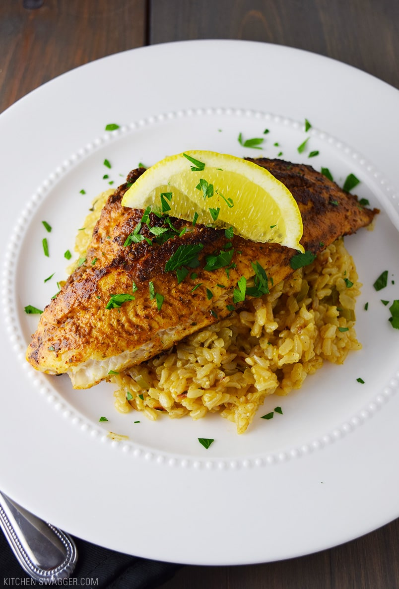 blackened catfish over cajun rice recipe kitchen swagger