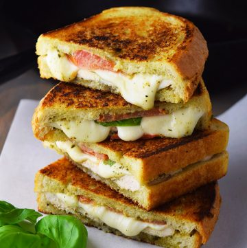 "<span class=""entry-title-primary"">Cast Iron Chicken Pesto and Mozzarella Panini Recipe</span> <span class=""entry-subtitle"">Chicken, pesto, basil, and mozzarella panini grilled in a cast iron skillet.</span>"