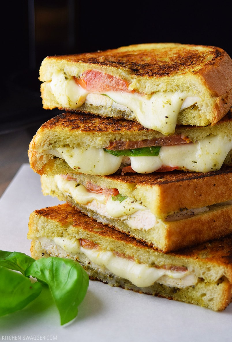 Cast Iron Chicken Pesto And Mozzarella Panini Recipe Kitchen Swagger