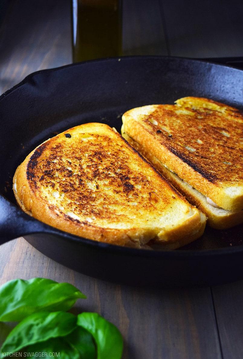 The ultimate panini recipe. Skillet chicken pesto panini with fresh mozzarella