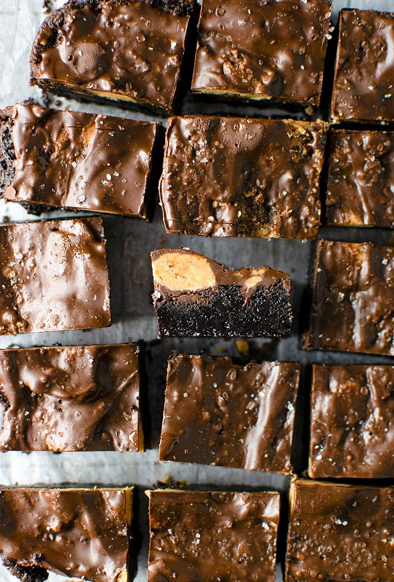 Dark Chocolate Brownies with Peanut Butter Cups and Sea Salt Recipe