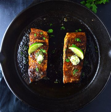 "<span class=""entry-title-primary"">Blackened Salmon with Cilantro Lime Butter Recipe</span> <span class=""entry-subtitle"">Simple blackened salmon topped with cilantro lime compound butter.</span>"