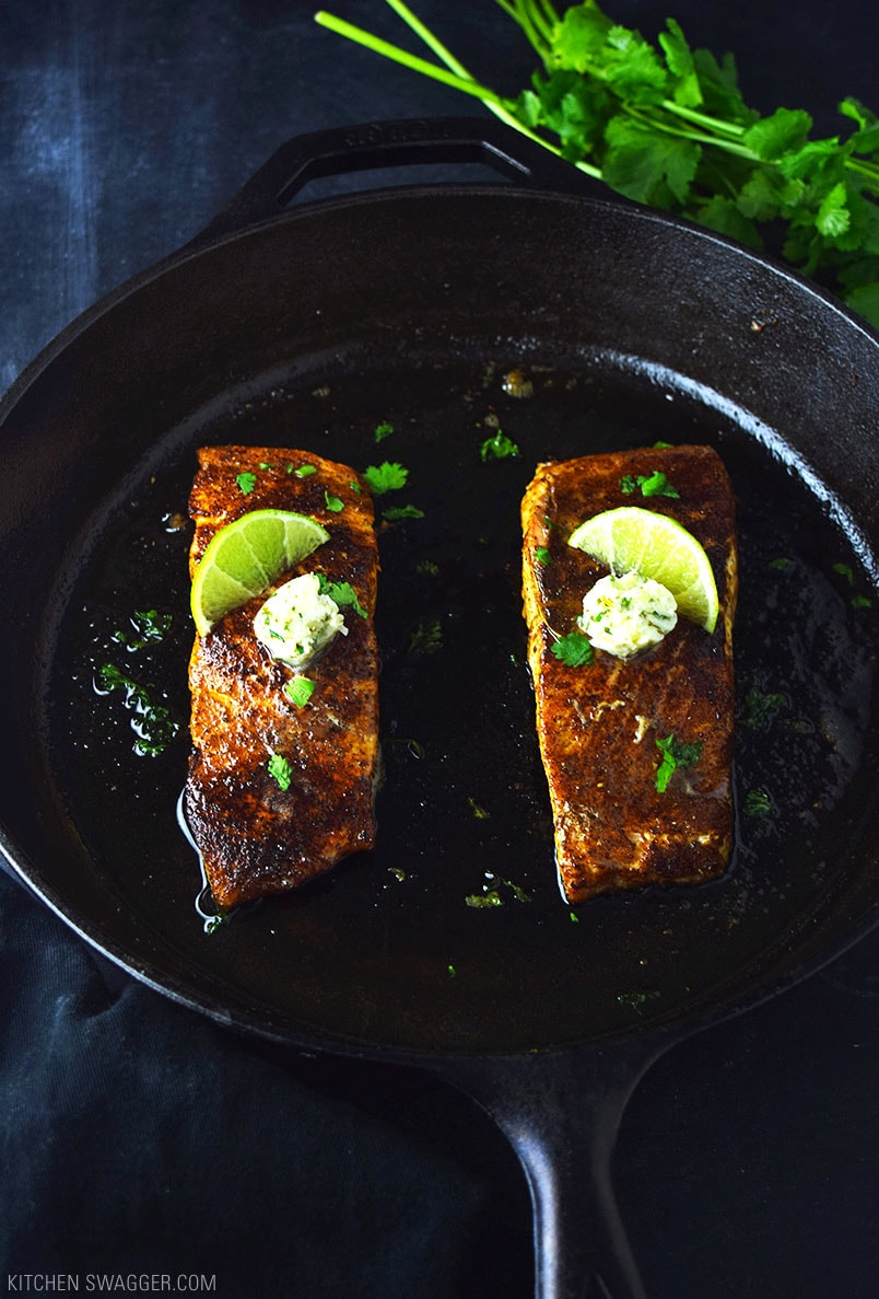 Blackened Salmon with Cilantro Lime Butter Recipe