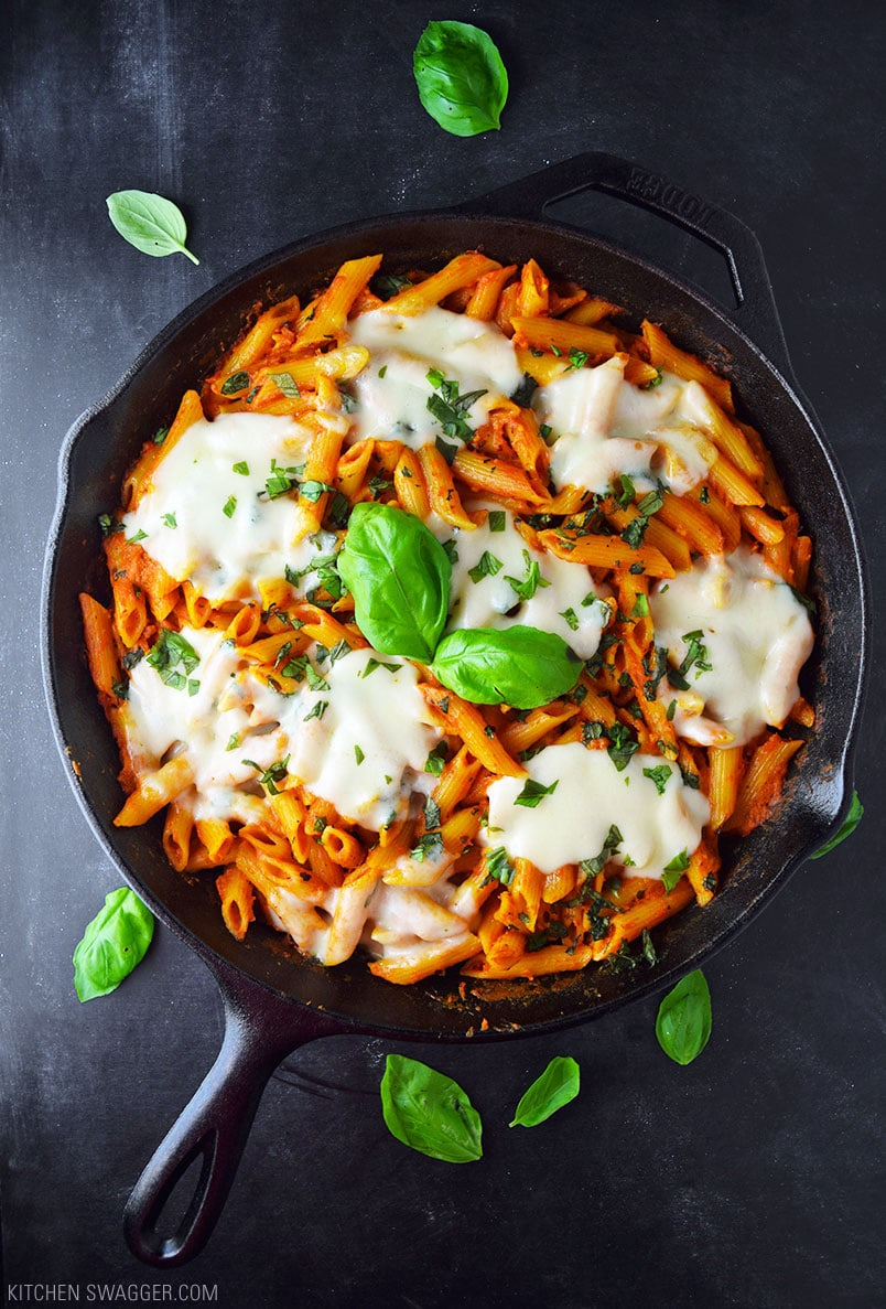 No-Boil Baked Penne with Fresh Mozzarella and Basil Recipe