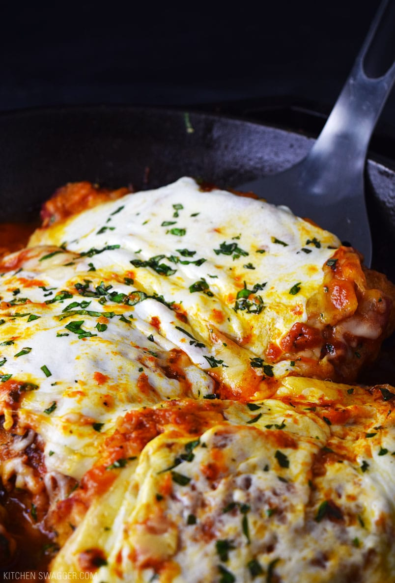 One Skillet Chicken Parmesan Recipe Kitchen Swagger
