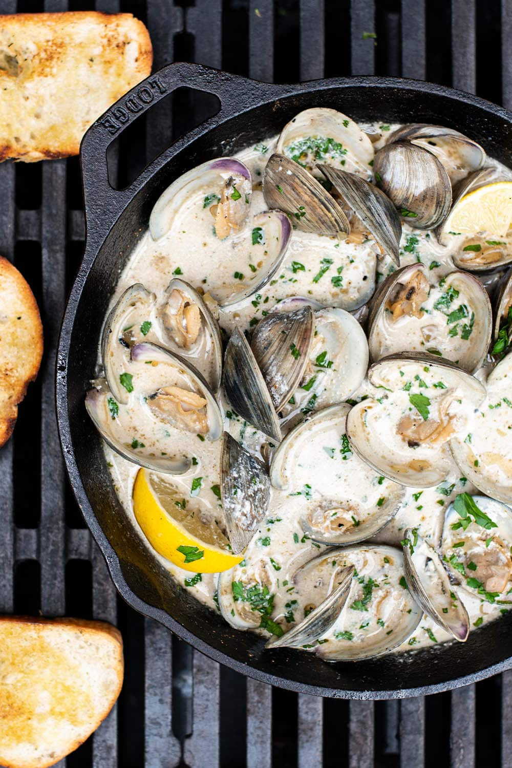 Creamy Beer Steamed Clams with Grilled Bread Recipe