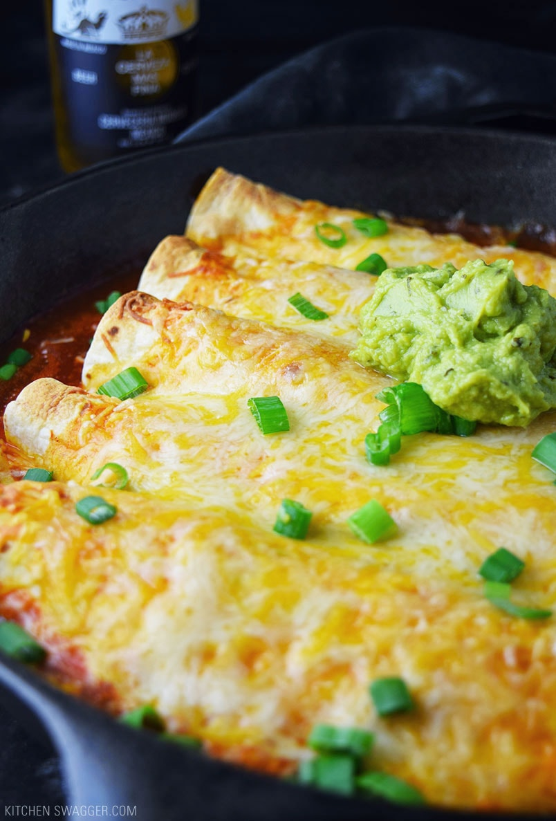 One-Skillet Chicken Enchiladas Recipe | Kitchen Swagger
