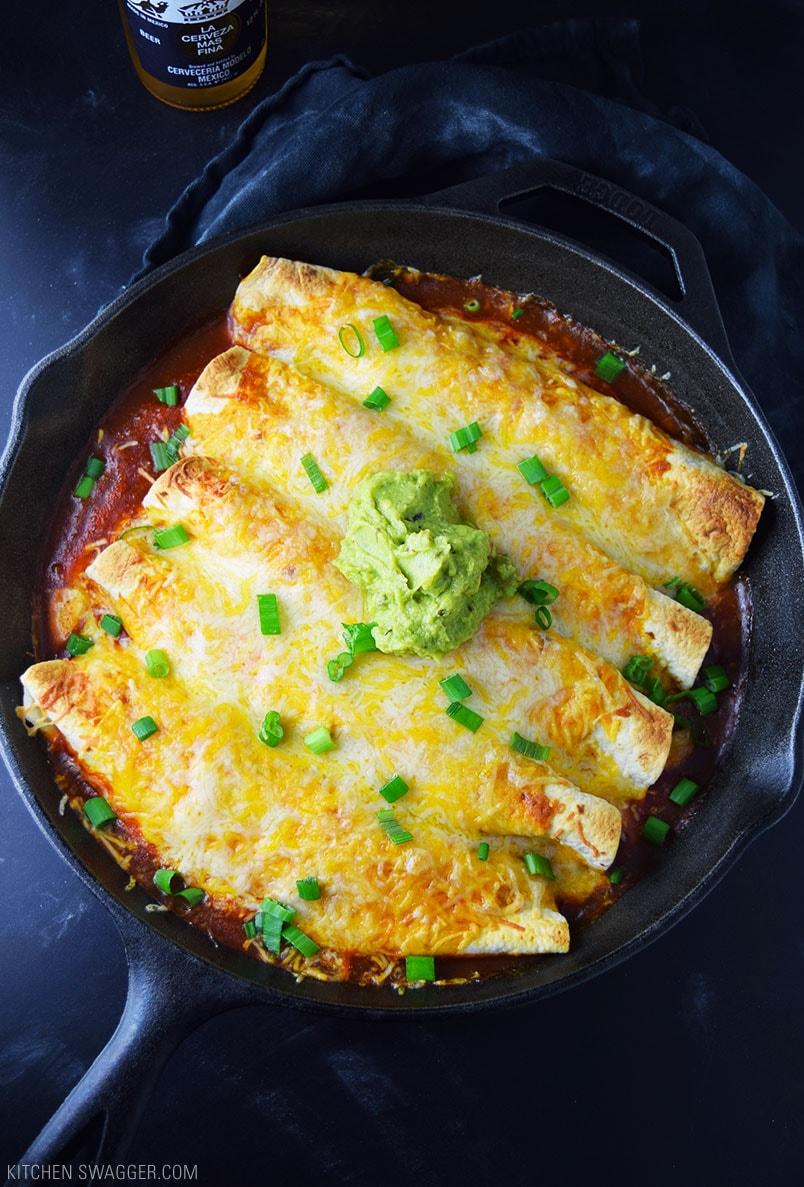 One-Skillet Chicken Enchiladas Recipe