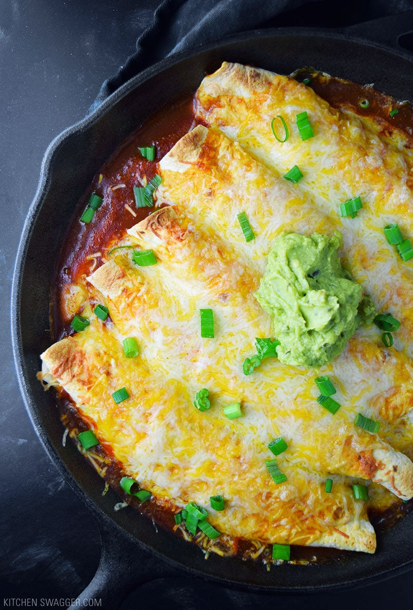 One Skillet Chicken Enchiladas Recipe Kitchen Swagger