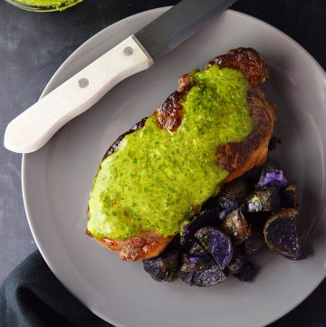 "<span class=""entry-title-primary"">Sirloin Steak with Chimichurri Sauce Recipe</span> <span class=""entry-subtitle"">Steaks topped with chimichurri—an herb-based sauce made with fresh parsley, cilantro, garlic, olive oil, and spices</span>"