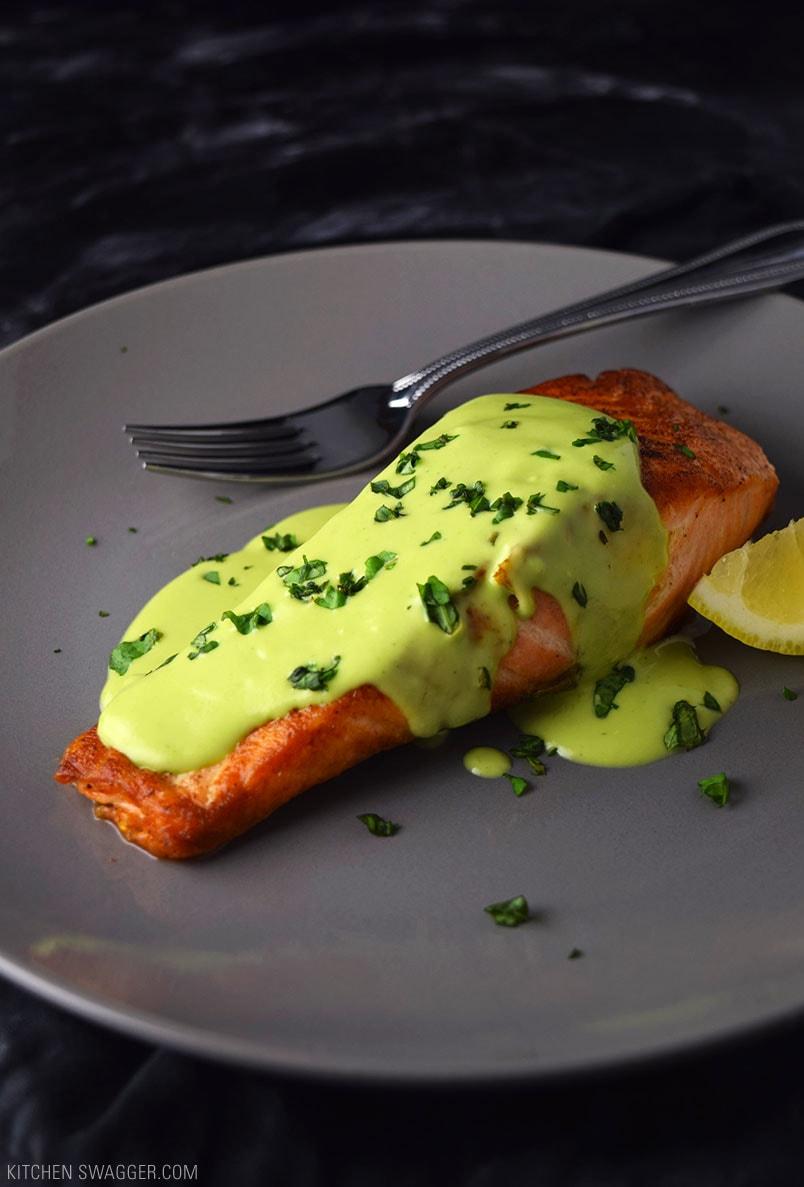 Pan-Seared Salmon with Creamy Avocado Sauce