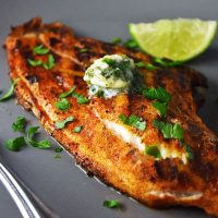 Grilled Blackened Catfish with Cilantro-Lime Butter Recipe