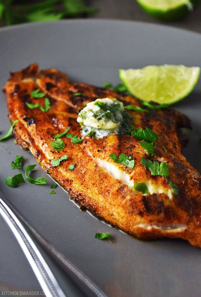 Grilled blackened catfish with cilantro lime butter recipe for Blackened fish recipes