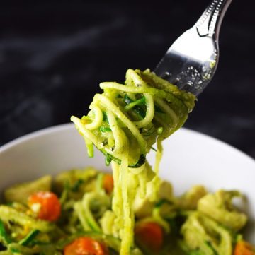 """<span class=""""entry-title-primary"""">Pesto Chicken with Zucchini Noodles Recipe</span> <span class=""""entry-subtitle"""">A healthy alternative to my favorite chicken pesto pasta recipe.</span>"""