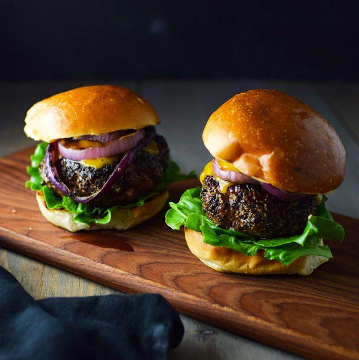 Pepper Crusted Blue Cheese Burgers Recipe
