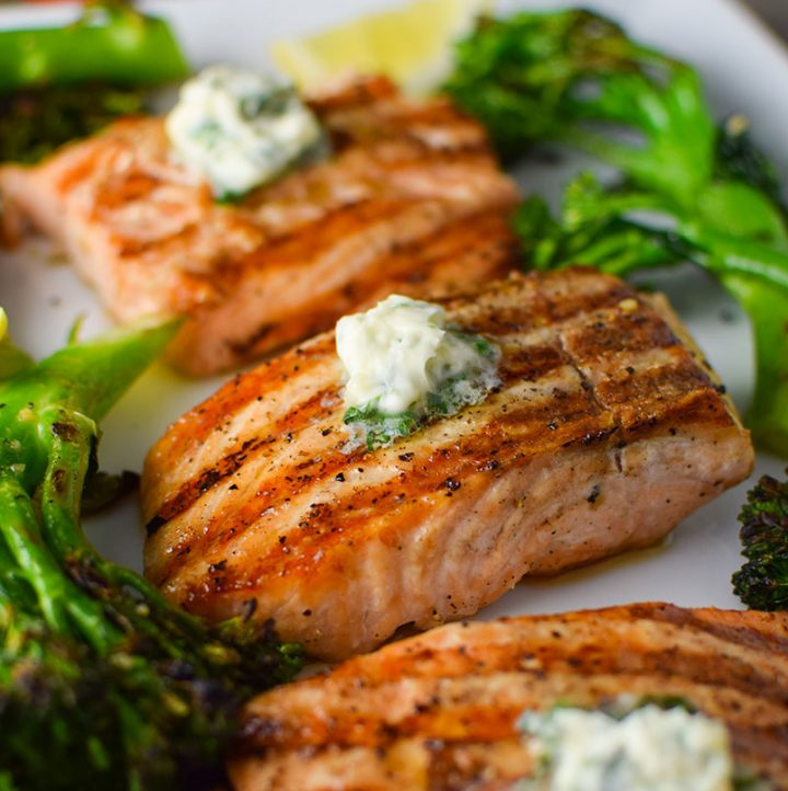 Easy Grilled Salmon with Basil Butter & Broccolini Recipe