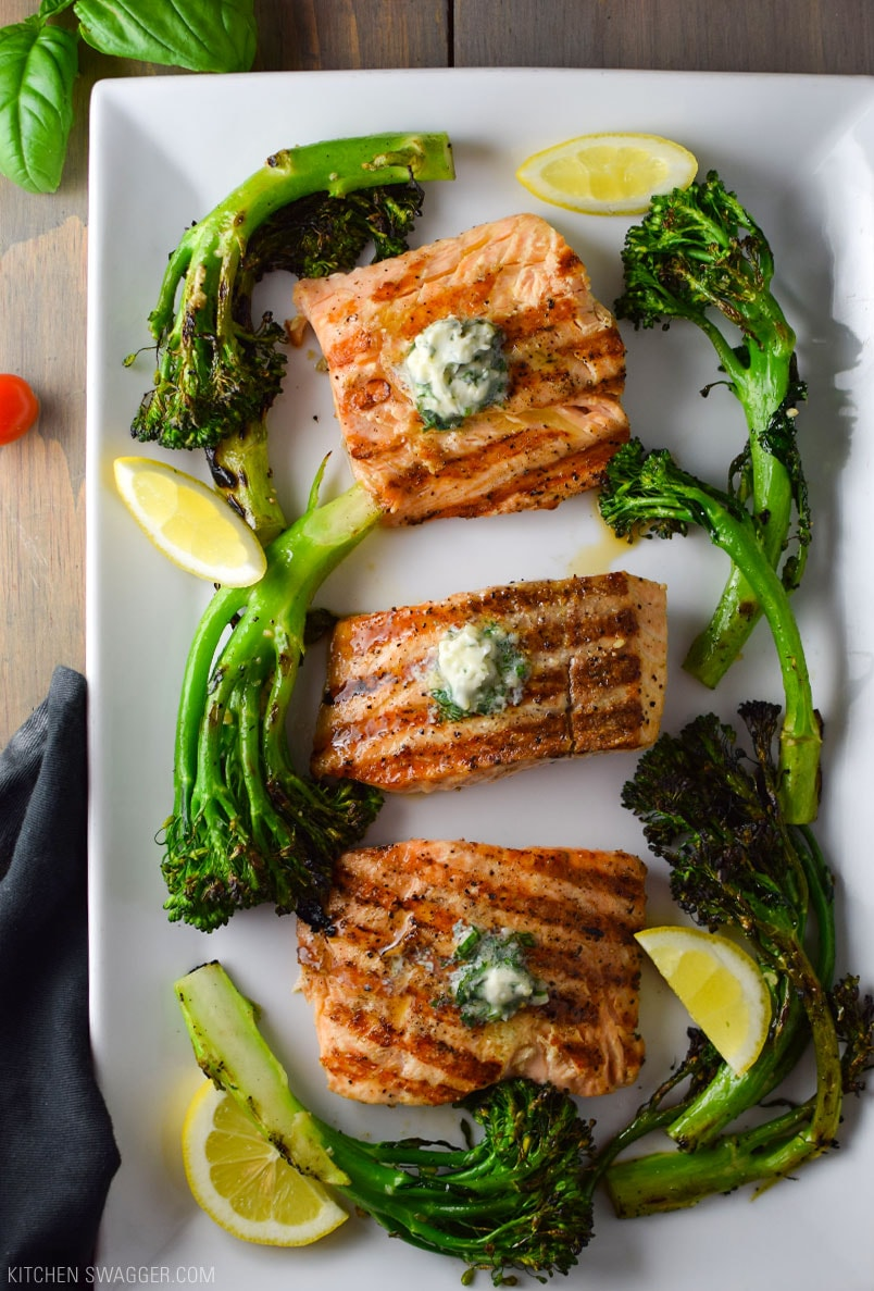 Grilled Salmon with Basil Butter Recipe