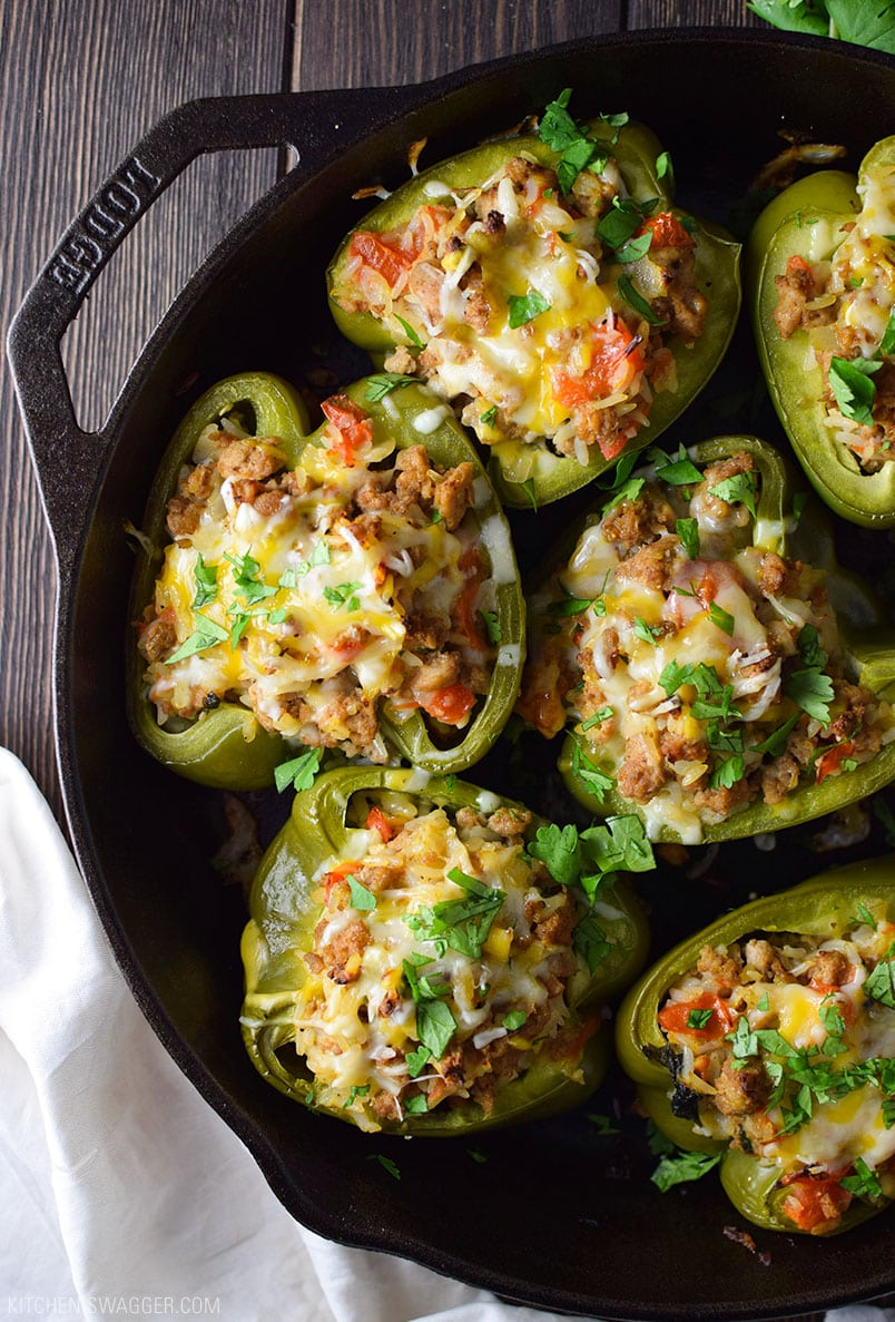 One-Skillet Turkey Stuffed Bell Peppers Recipe
