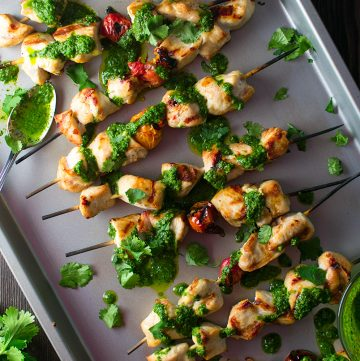 "<span class=""entry-title-primary"">Grilled Chicken Kebabs with Chimichurri Sauce Recipe</span> <span class=""entry-subtitle"">Grilled chicken served with a tangy, Argentinian herb-based sauce made with fresh parsley, cilantro, garlic, olive oil, and spices.</span>"