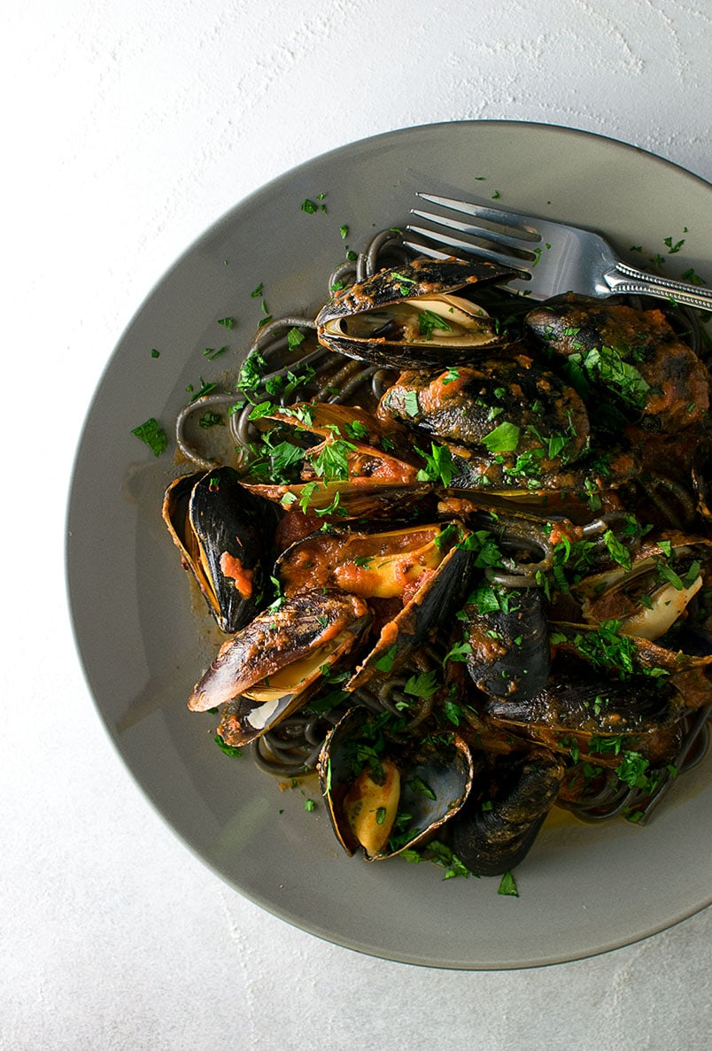 Spicy Squid Ink Pasta with Mussels Recipe