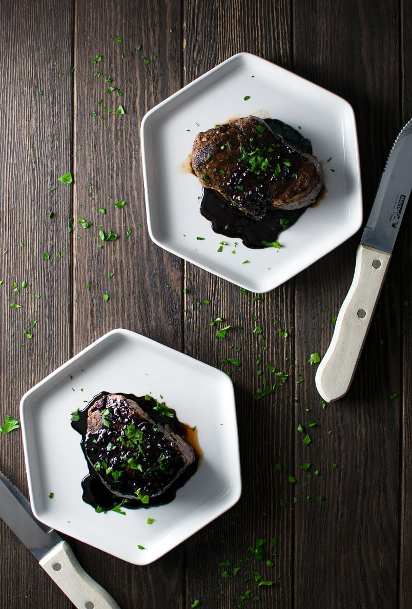 Pan-Seared Filet Mignon with Red Wine and Balsamic Reduction