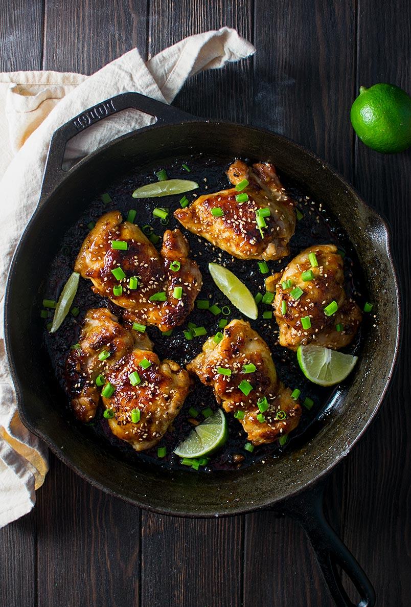 Skillet Sweet and Spicy Chicken Thighs Recipe