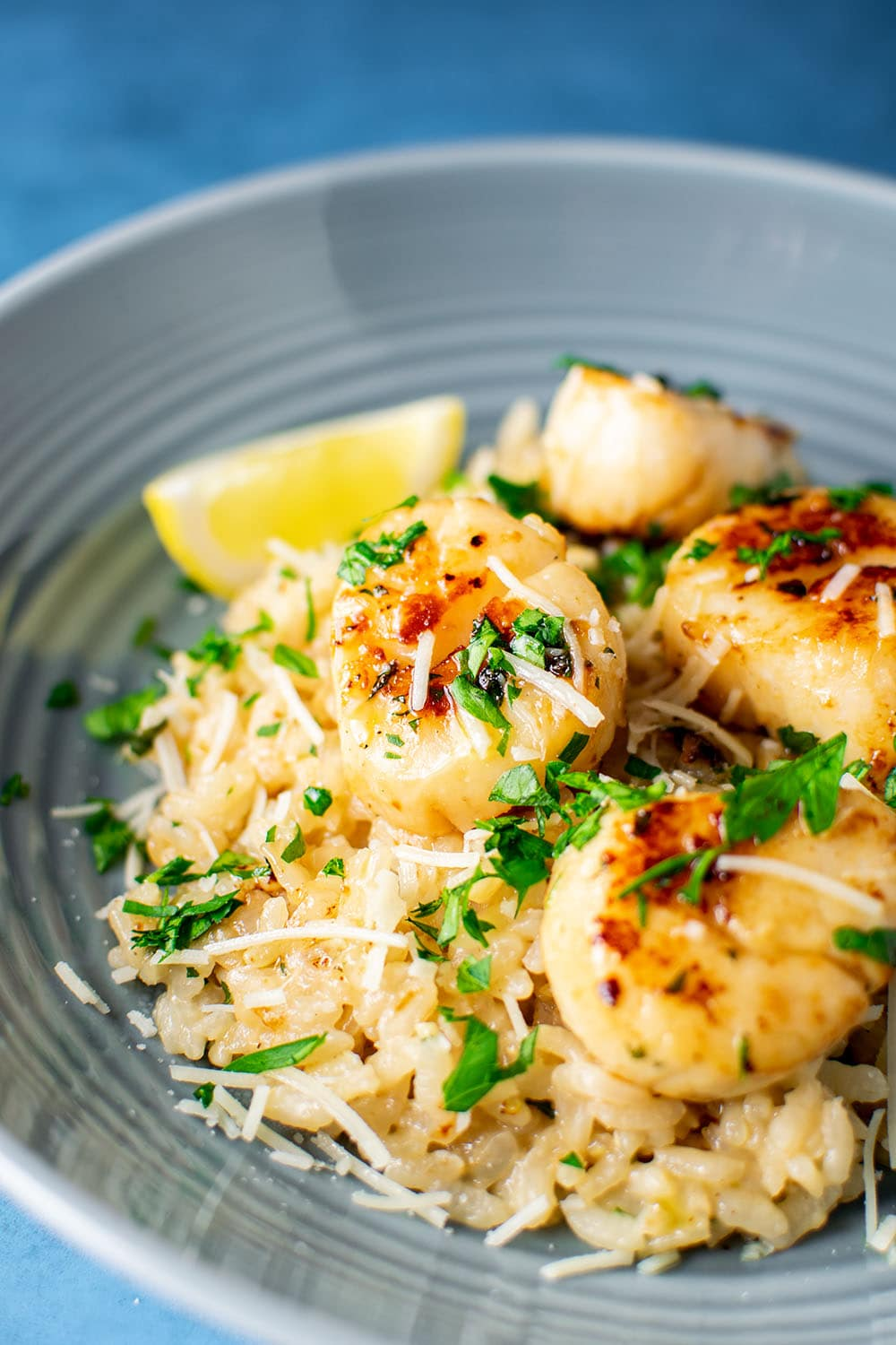 Lemon Butter Scallops Over Parmesan Risotto Recipe