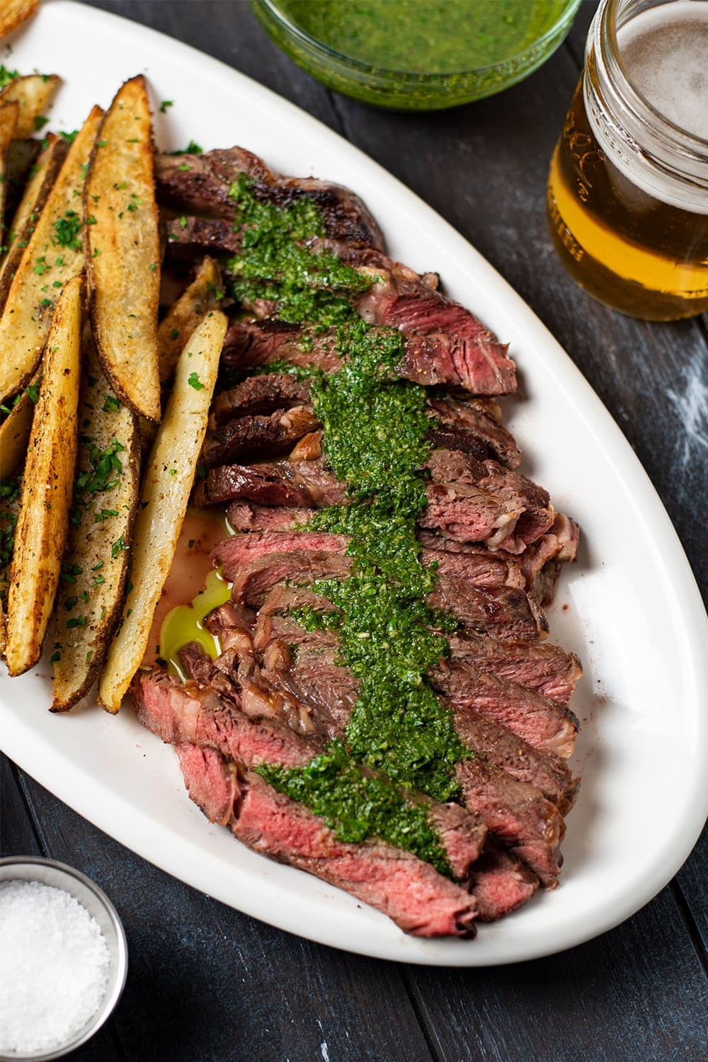 Ribeye served with chimichurri sauce