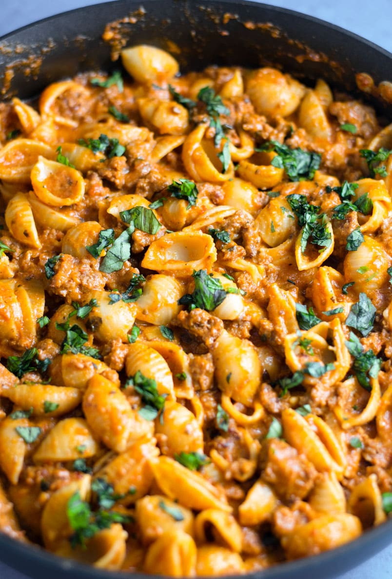 Creamy Shell Pasta with Ground Sausage Recipe