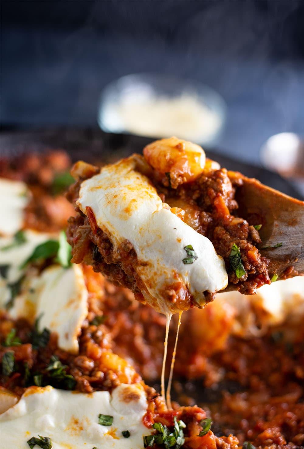 Cheesy Baked Gnocchi Bolognese with Mozzarella Recipe