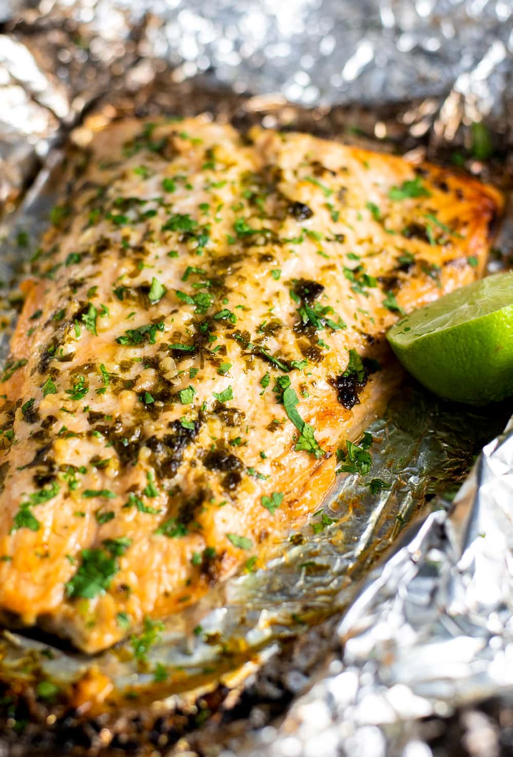 Baked Cilantro Lime Salmon in Foil Recipe