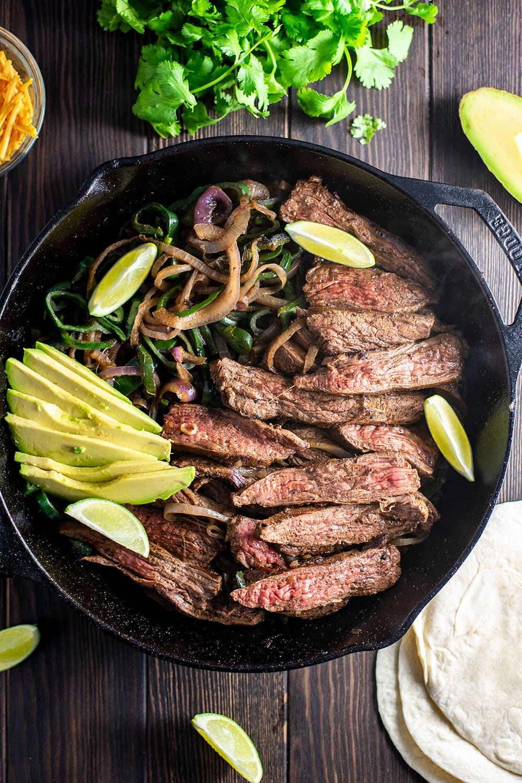Skillet Flank Steak Fajitas Recipe