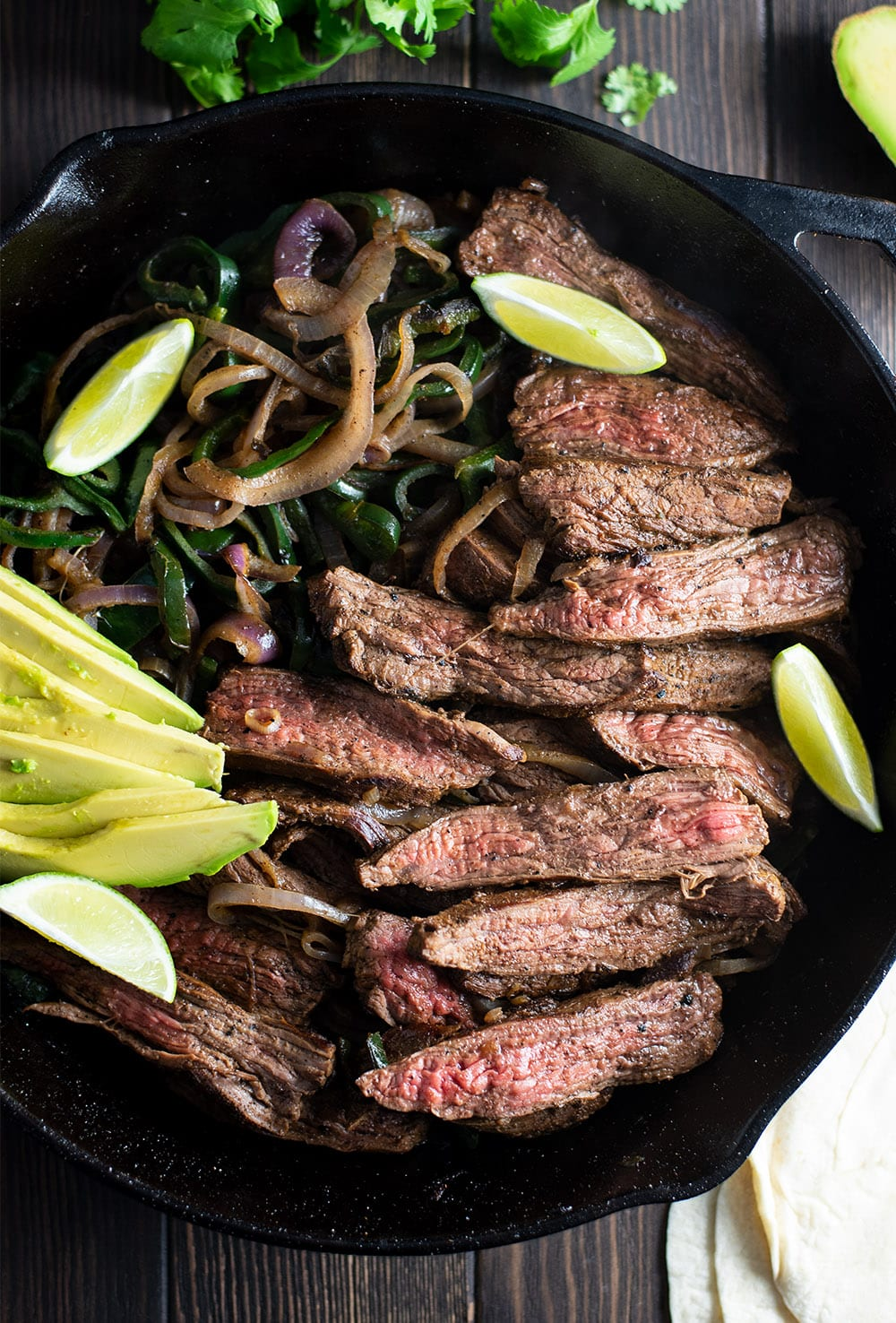 Skillet Flank Steak Fajitas Recipe