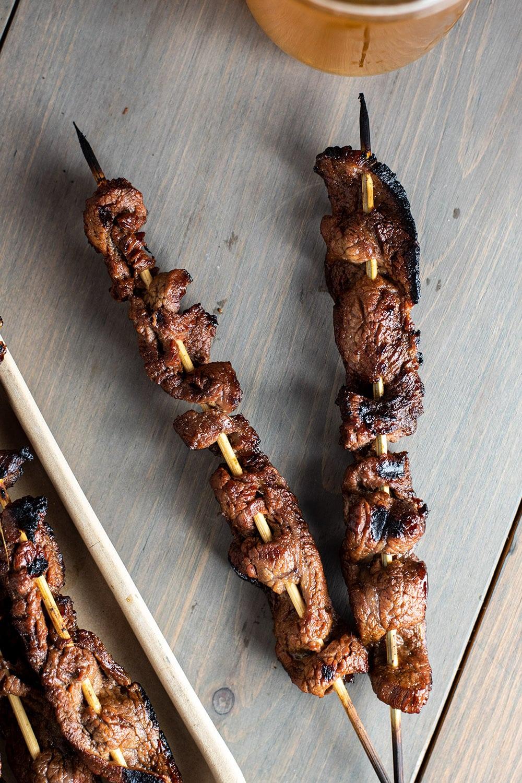 Grilled Beef Skewers with Teriyaki Beer Marinade Recipe
