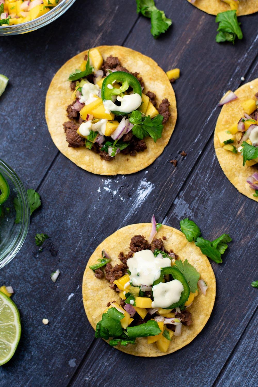 Sesame Beef Tacos with Mango & Jalapeño Recipe