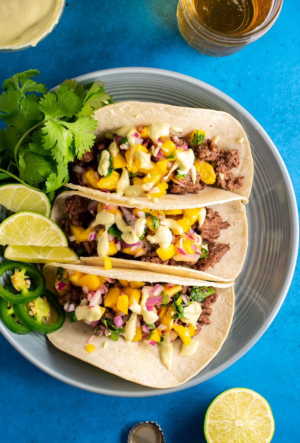 Sesame Beef Tacos with Mango & Jalapeños Recipe